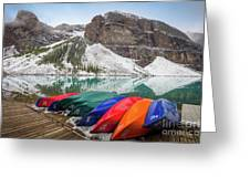 Moraine Lake Canoes Greeting Card
