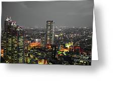 Mostly Black And White Tokyo Skyline At Night With Vibrant Selective Colors Greeting Card