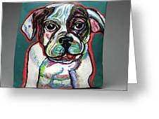 Neon Bulldog Greeting Card