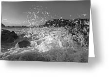 Ocean Wave Splash In Black And White Greeting Card