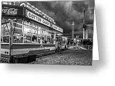 On The Midway - Temptations Of The Night 4 Bw Greeting Card