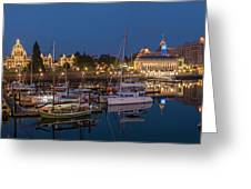 Panoramic Of Inner Harbor In Victoria Greeting Card