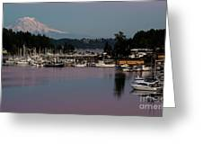 Pink Purple Glow Over Mount Rainier And Gig Harbor Marina After Sunset Greeting Card
