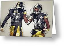 Pittsburgh Steelers.le'veon Bell And Antonio Brown Greeting Card
