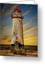 Point Of Ayr Lighthouse Sunset Greeting Card