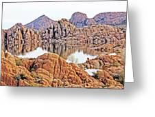 Prescott Arizona Watson Lake Rocks, Hills Water Sky Clouds 3122019 4868 Greeting Card