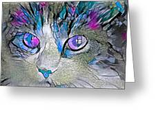 Purple Stained Glass Kitty Greeting Card by Don Northup