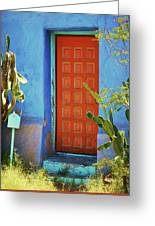Red Door Adobe Greeting Card