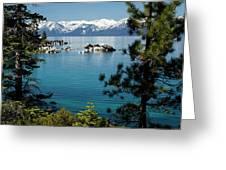 Rocks In A Lake With Mountain Range Greeting Card