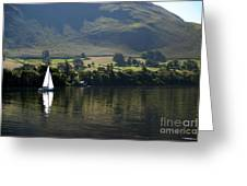 Sailboat On Ullswater In The Lake Greeting Card
