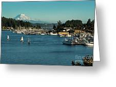 Sailboats At Gig Harbor Marina With Mount Rainier In The Background Greeting Card