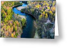 Springtime On The Manistee River Aerial Greeting Card