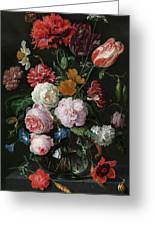 Still Life With Flowers In A Glass Vase, 1683 Greeting Card