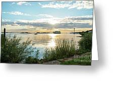 Sunset On The Elbe Greeting Card