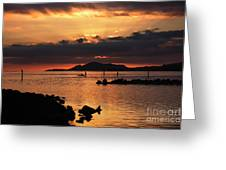 Sunset Over Maunalua Bay Greeting Card by Charmian Vistaunet