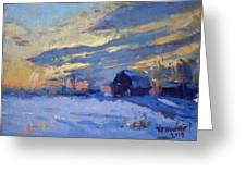 Sunset Over The Farm Greeting Card