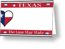 Texas State License Plate Greeting Card