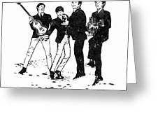 The Beatles Black And White Watercolor 02 Greeting Card