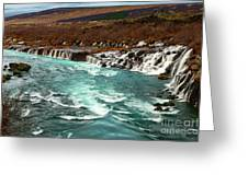 The Beautiful Cascades Of Hraunfossar In Iceland. Greeting Card