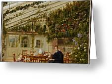 The Family Of Mr  Westfal In The Conservatory  Greeting Card