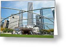 The Great Lawn, Trellis, Bandshell And Jay Pritzker Pavilion, Mi Greeting Card
