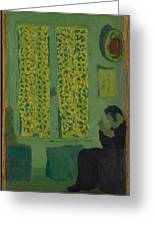 The Green Interior  Figure Seated By A Curtained Window   Greeting Card