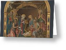 The Nativity With Saints Altarpiece  Greeting Card