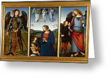 Three Panels From An Altarpiece  Certosa  Greeting Card