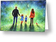 Twilight Walk With Mom And Dad Greeting Card