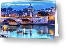 Vatican Dome And Tiber River, Ponte Greeting Card