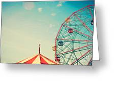 Vintage Colorful Ferris Wheel Over Blue Greeting Card
