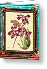 Vintage Orchid Antique Design Marble Caribbean-blue Greeting Card
