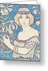 Vintage Poster - Woman With Flower Greeting Card