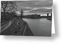 Walking Along The Seine At Sunset Greeting Card