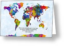 Watercolor World Map Custom Text Added Greeting Card