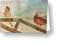 Winter Cardinals Greeting Card by Denise Tomasura