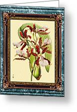 Vintage Orchid Antique Design Marble Blue-green  Greeting Card