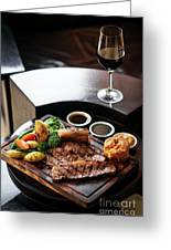 Sunday Roast Beef Traditional British Meal Set On Table Greeting Card
