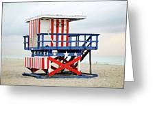 13th Street Lifeguard Tower - Miami Beach Greeting Card