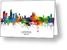 Liverpool England Skyline Greeting Card