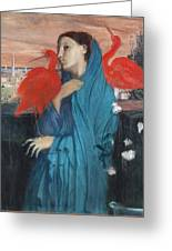 Young Woman With Ibis  Greeting Card