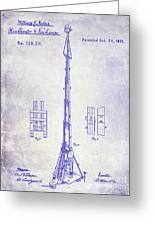 1871 Fire Hose Elevator Patent Blueprint  Greeting Card