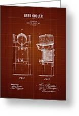 1876 Brewing Cooler - Dark Red Blueprint Greeting Card