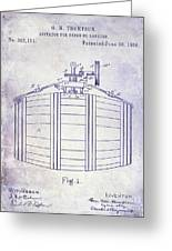 1888 Whiskey Or Beer Barral Patent Blueprint Greeting Card