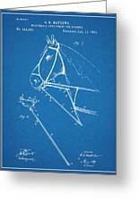 1891 Horse Harness Attachment Patent Print Blueprint Greeting Card