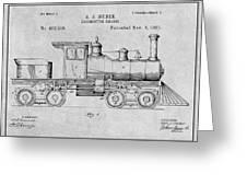 1891 Huber Locomotive Engine Gray Patent Print Greeting Card