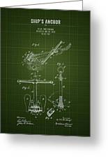 1892 Ships Anchor - Dark Green Blueprint Greeting Card