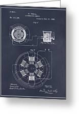 1896 Tesla Alternating Motor Blackboard Patent Print Greeting Card