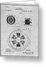 1896 Tesla Alternating Motor Gray Patent Print Greeting Card
