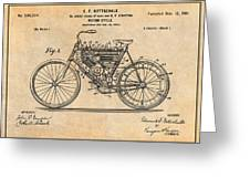 1901 Stratton Motorcycle Antique Paper Patent Print Greeting Card